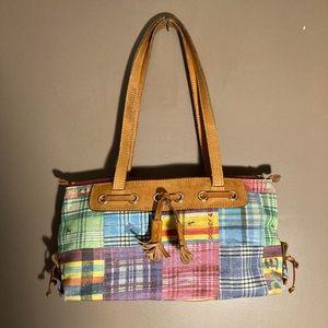 Dooney & Bourke patchwork canvas tan leather bag